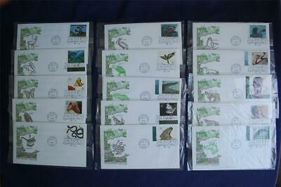 Endangered Species 32c Stamps 15 FDCs Artmaster Cachets Sc#3105a-l Brown Pelican
