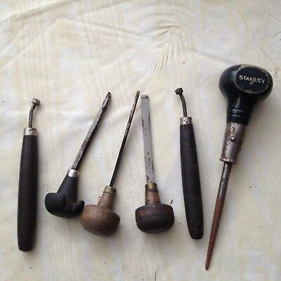 Vintage Wood Handle Tools Shoemakers Leather Working Etc Tools Stanley Awl