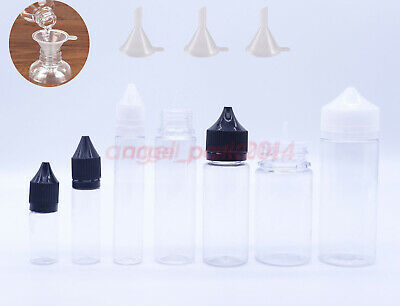 Clear 10ml 30ml 60ml 100ml 120ml Long Double ChildProof Cap PET Dropper Bottles