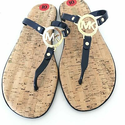 f391664d702c MICHAEL KORS NAVY Blue Jelly Thong Sandals Cork Footbed MK Logo NEW ...
