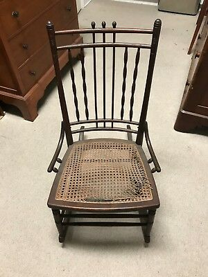 Beautiful Vintage Antique Spindle Wooden Rocking Chair with Cane Seat