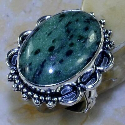 Green Ruby Zoisite Gemstone Handmade .925 Silver Plated Ring Size 8 3/4