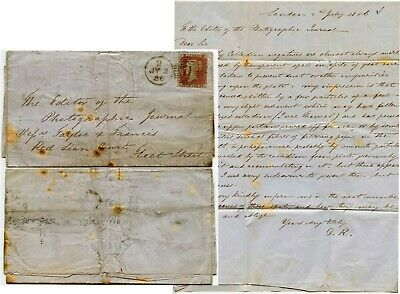 EARLY PHOTOGRAPHY 1856 LETTER to TAYLOR + FRANCIS re COLLODIAN PROBLEMS