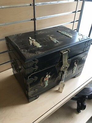 Antique 19C Chinese Wood Laquered Painted & Stone Inlay Jewerly Box