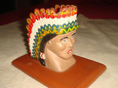 Antique Primitive Folk Art Carved & Painted Wood Native American Chief Bust