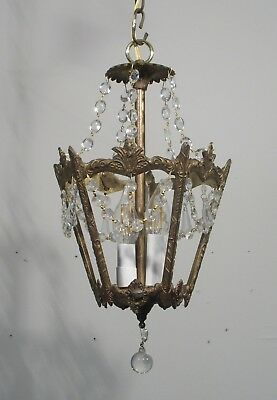 Antique Vintage Bronze Petite Lantern Crystals Three Light Fixture Lamp Pendant