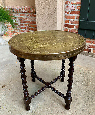 Antique English Oak BARLEY TWIST Coffee Tea TABLE Round Brass Arts & Crafts
