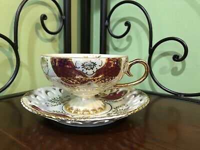 Antique Gorgeous Royal Sealy China Teacup And Saucer!!  Take A Look!!