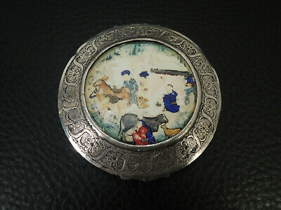 Antique Islamic Persian Sterling Silver Mirror Or Trinket Box