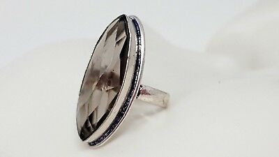 Vintage Sterling Silver Smoky Topaz Band Ring size  7