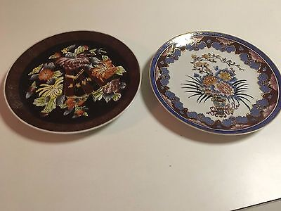 Hand Painted Decorative Plates - Asian Pottery - Beautiful Plates - 2 Total