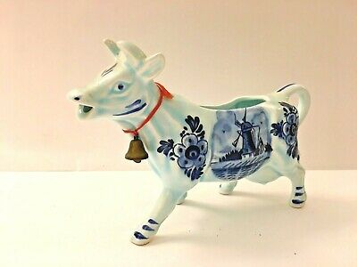 Vintage Delft Blue Holland hand painted cow windmill creamer made in Japan