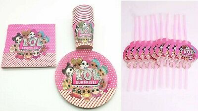 LOL Surprise Dolls Birthday Party Decoration Set Straws,Cups,Plates&Napkins x10