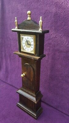 Rare Vintage Antique Miniature Grandfather Wind Up Mantel Clock Working