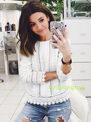 41b71430b56 ZARA WOMAN EMBROIDERED BLOUSE WITH CROCHET LACE GUIPURE DETAIL last one NEW