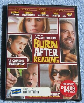Burn After Reading, DVD 2008, Rated R **LIKE NEW**