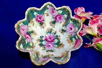 Antique Nippon Hand Painted Roses, Gold Gilt, Moriage Beads Footed Candy Dish