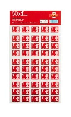 Royal Mail First Class Large Letter size 1st Class Stamp Sheet (50x2) 100 Stamps