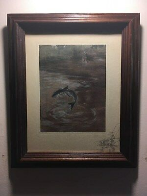 """Framed Antique Lithograph,""""First Jump"""", Salmon Fishing by G. Denholm Armour!!!!!"""