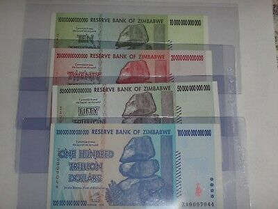 Rare Replacement ZA Prefix 100/50/20/10 Trillion Zimbabwe Dollars 2008 UNC SET