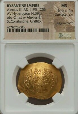 Byzantine Empire Alexius III Hyperpyron MS 4/2 Ancient Gold Coin