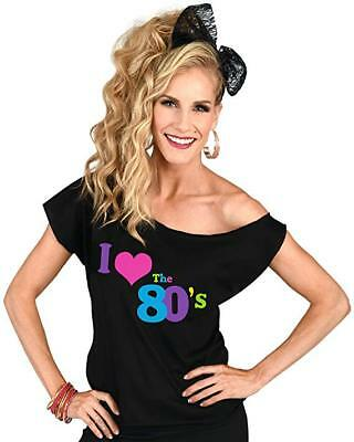 "Vintage ""I Love the 80's"" Costume Retro T Shirt - 1980s Off-Shoulder"