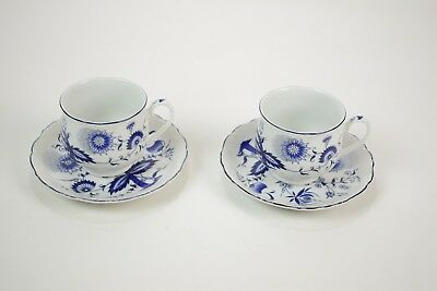 House of Prill Porcelain - blue onion pattern - lot of 2 footed cup + saucer