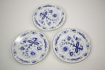 "House of Prill Porcelain - blue onion pattern - lot of 3 7 5/8"" salad plates"