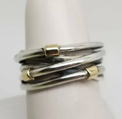 304d4bac8 Pandora Sterling Silver 14K Yellow Gold Wrap Crossover Band Ring Size 6.5