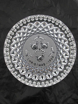 Waterford Crystal Three French Hens Chistmas 1986 Serving Tray Dish Plate