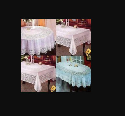 100% VINYL WHITE EMBOSSED LACE TABLECLOTH TABLE COVER OVAL RECTANGLE SQUARE Wipe