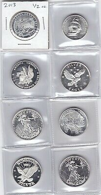 (8) different 1/2 troy oz ea .999 pure Silver Rounds Sunshine, GG, Buffalo etc.