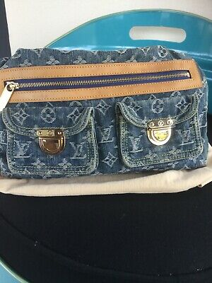 LOUIS VUITTON Authentic Blue Denim Baggy PM Handbag