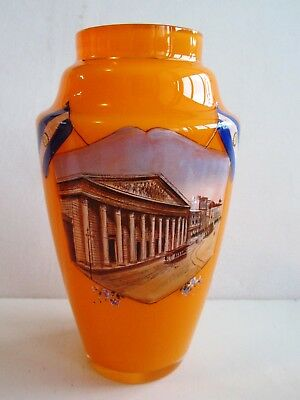 KRALIK ART DECO TANGO GLASS VASE Hand Painted - Flag of Argentina-Buenos Aires