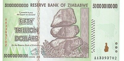 Zimbabwe 50 Trillion Dollars Bill AA 2008 Authentic Currency Note