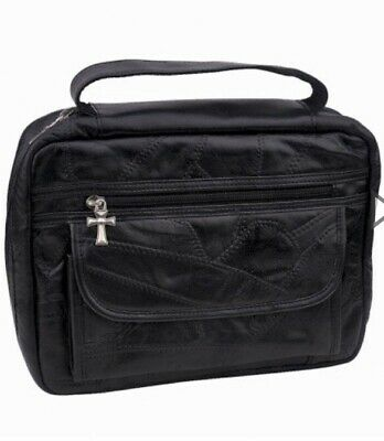 *New Lower Price* BLACK LEATHER BIBLE COVER SidePocket Book Case Cross Zipper