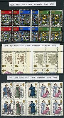 GB 1971-75 Selection of MNH Commemorative Sets in Fourblocks, LOOK!