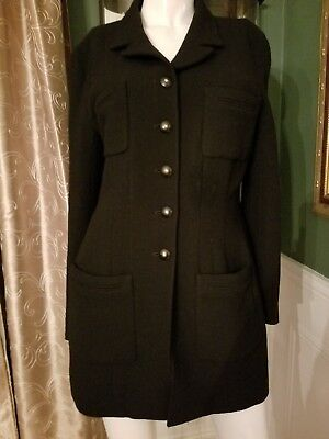 Chanel Black Boucle Classic Jacket w/Black & Gold Buttons Size 10