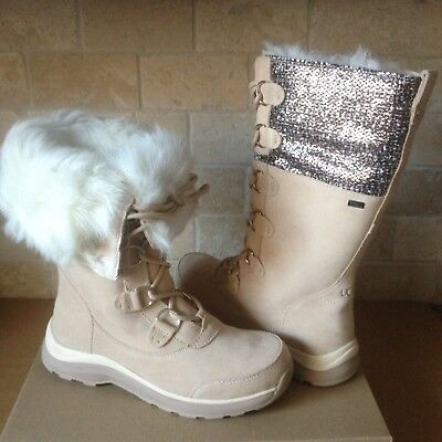 0fdeb82c6e UGG Atlason Frill Cream Waterproof Leather Cuff Tall Snow Boots Size 8.5  Womens