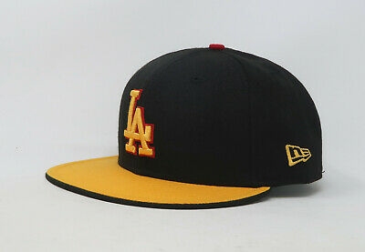New Era 59Fifty Hat Mens MLB Los Angeles Dodgers Black Gold Red Fitted 5950 Cap
