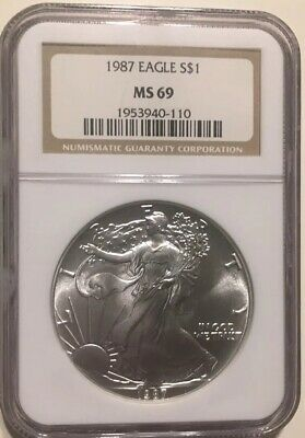 1987 NGC MS69 American Eagle Silver Dollar Coin SAE .999 Pure Silver Brown Label