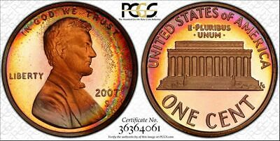 2007-S Lincoln Memorial Penny One Cent Pcgs Pr68Rb Color Toned One Graded Higher