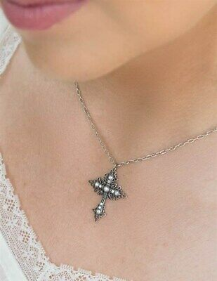 Victorian Trading Co Gothic Cross Pendant Swarovski Crystal SilverPlate Necklace