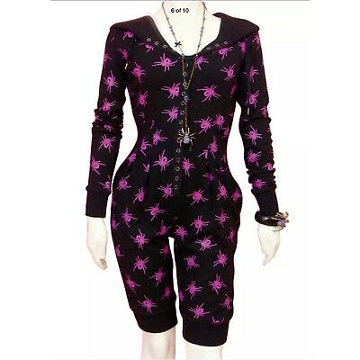 d9a30559481a BETSEY JOHNSON Spider Black Purple Hoodie Pockets Jumpsuit Romper S M