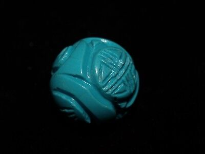 One Large Vintage Carved Chinese Stabilized Turquoise Bead Round, Shou 18mm