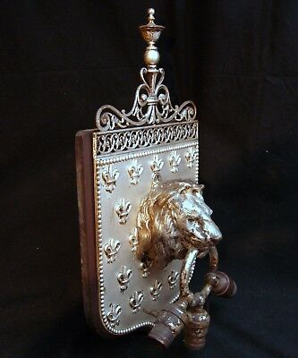 Unusual Silver Plated Bronze Sconce 3 Arm Lion's Head w/Ring For Restoration