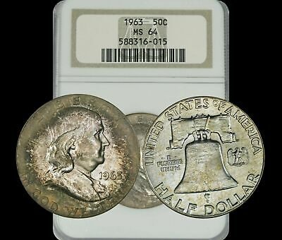 1963 FRANKLIN HALF DOLLAR 50c BU NGC MS64 BEAUTIFUL & TONED COIN!