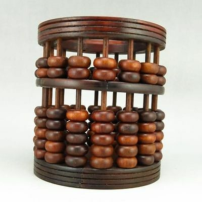 Chinese suanzhi wood rosewood carved beads Abacus new round brush pot d02
