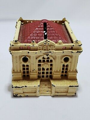 Antique Cast Iron Still Penny Bank White Bank Building w/ Windows and Red Roof