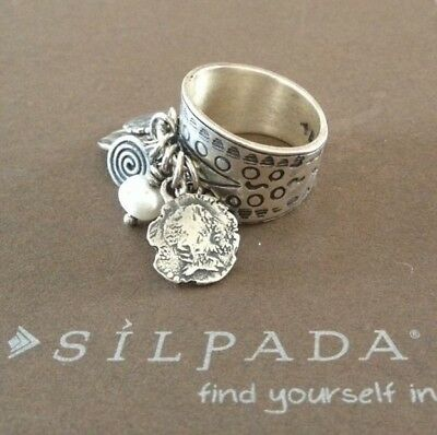 Silpada R1902 .925 Sterling Silver Pearl Stamped Coin Cha Cha Ring Size 6 CUTE!!